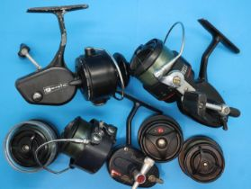 Three Mitchell fishing reels including 3005 and 206 and three spark reels. P&P Group 2 (£18+VAT