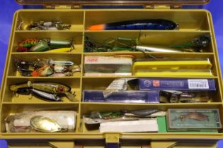 Plano magnum fishing box containing a large selection of fishing accessories. P&P Group 3 (£25+VAT