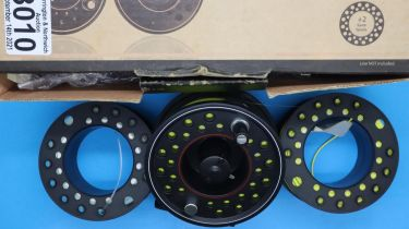 Boxed Leeda Profil 7/8 fishing reel with two spare spools. P&P Group 2 (£18+VAT for the first lot