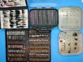 Four boxes of assorted fishing flies. P&P Group 2 (£18+VAT for the first lot and £3+VAT for