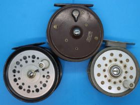 Three fly fishing reels including Milward Fly Master, Winfield and Edgar Sealey Fly man. P&P Group 2