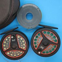 Two Leeda LC100 fly fishing reels and spare spools. P&P Group 2 (£18+VAT for the first lot and £3+