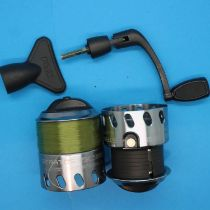 Two spare spools and a winding arm for Fox Stratos FS 7000. P&P Group 2 (£18+VAT for the first lot