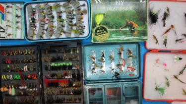 Large selection of boxed fishing flies. P&P Group 2 (£18+VAT for the first lot and £3+VAT for