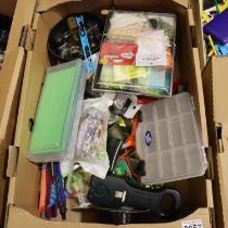 Box of mixed fishing tackle including feeders and catapults. P&P Group 3 (£25+VAT for the first