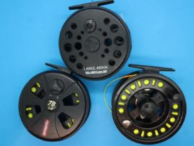 Three fly fishing reels including two Intrepid LA78 and a Lureflash. P&P Group 2 (£18+VAT for the