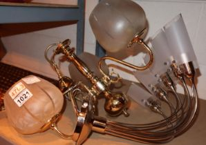 Modern chrome five shaded light fitting and a brass three shaded light fitting. Not available for