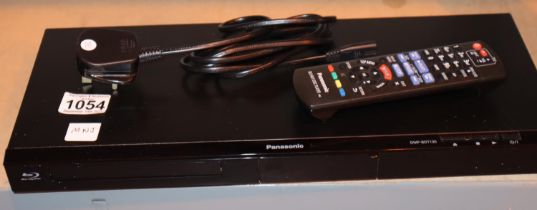Panasonic Blu Ray disc player with power supply and remote control. Working at time of lotting. P&