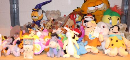 Shelf of mixed soft toys including Garfield, Flintstones etc. Not available for in-house P&P,