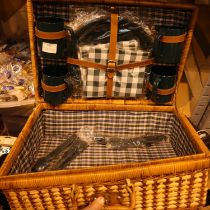 A wicker picnic basket with contents, appears complete and unused. Not available for in-house P&P,