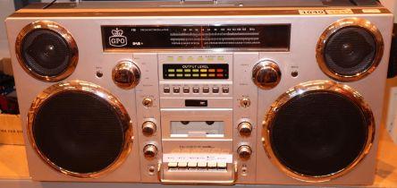 Black GPO Brooklyn large 1980s-Style Boombox - CD, cassette, DAB+ & FM Radio, USB, Bluetooth