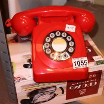 Red, GPO746 Retro push button telephone replica of the 1970s classic, compatible with modern