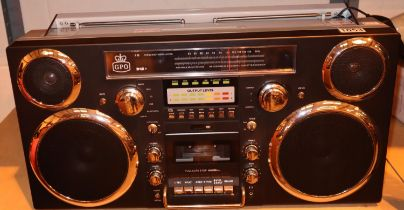 GPO Brooklyn large 1980s-Style Boombox - CD, cassette, DAB+ & FM Radio, USB, Bluetoothreceiver; 30 x