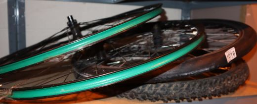 Four bike wheels, various makes. Not available for in-house P&P, contact Paul O'Hea at Mailboxes