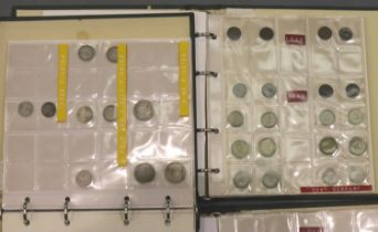 Three part filled albums of world coins, predominantly German 19th - 20th century, including some