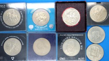 British crowns, dates 1951, 1953, 1965, 1972, 1977, 1981, 1984, Guernsey crown 1978. P&P Group 1 (£
