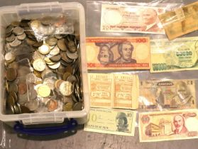 Large collection of 20th century UK and world coins, bank notes and tokens. Not available for in-