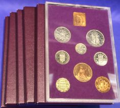 Six Royal Mint proof sets; Coinage of Great Britain 1970, four lacking certificates, otherwise all