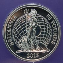 2015 Britannia Design uncirculated 999 fine silver £50. P&P Group 1 (£14+VAT for the first lot