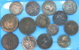 Copper coinage of George III including an Irish example, mixed denominations. P&P Group 1 (£14+VAT