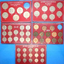1953 - 1967 pre-decimal coinage of Elizabeth II, mixed denominations in presentation cases,