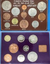 1970 British RSD proof set and complete decimal and last LSD issue. P&P Group 1 (£14+VAT for the