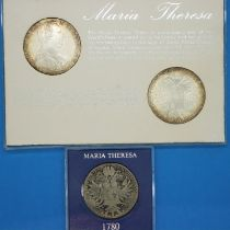 1780 Austrian silver Thaler of Maria Theresa, with two reproduction Thalers in presentation case.