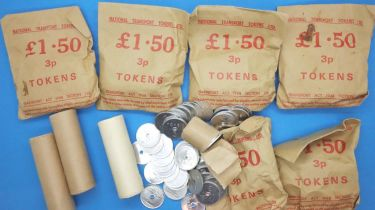 National Transport tokens, some in sealed bags. P&P Group 2 (£18+VAT for the first lot and £3+VAT