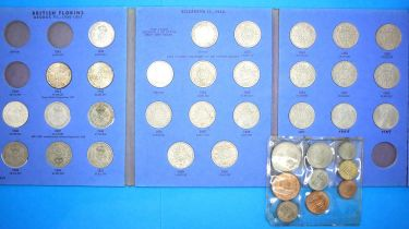 GB 1941-1969 florins in Whitman folder, no 1941 or 1943, uncirculated set farthing to half crown