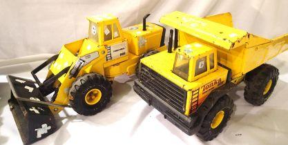 Vintage Tonka turbo diesel, tipper truck and a Tonka turbo diesel JCB. P&P Group 3 (£25+VAT for