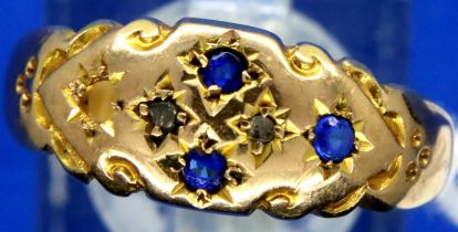 Victorian 9ct gold sapphire and diamond set dress ring, Chester hallmarked, one stone deficient,