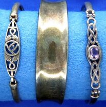 Three mixed sterling silver bangles, stamped 925. P&P Group 1 (£14+VAT for the first lot and £1+