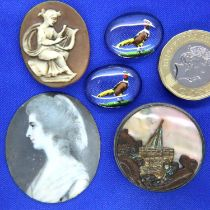 Two painted glass intaglio stones, miniature portrait on ivory, cameo and a vintage buttonhole. P&