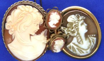 Suite of 9ct gold mounted and bound cameo set jewellery, with a further cameo brooch, combined