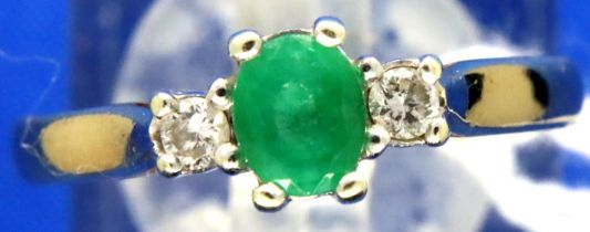 9ct gold emerald and diamond dress ring, size O/P, 2.5g. P&P Group 1 (£14+VAT for the first lot