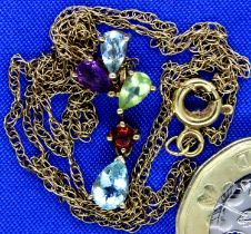 9ct gold multi stone pendant on a broken gold chain, 1.8g. P&P Group 1 (£14+VAT for the first lot