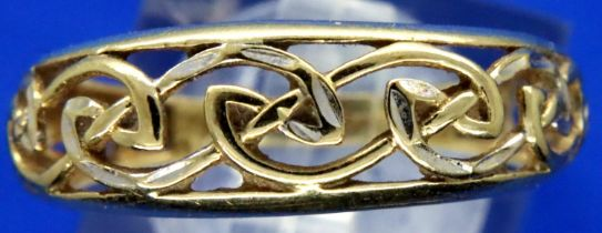 9ct gold filigree dress ring, size O, 1.9g. P&P Group 1 (£14+VAT for the first lot and £1+VAT for