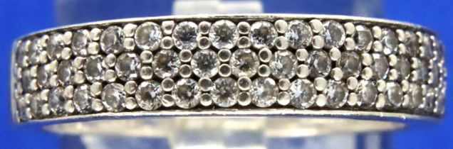 925 silver stone set ring, size Q/R. P&P Group 1 (£14+VAT for the first lot and £1+VAT for