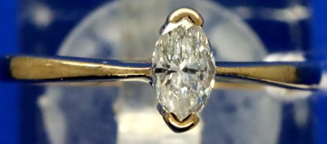 9ct gold ring with approximately 0.25ct Marquise cut diamond, size L, 1.4g. P&P Group 1 (£14+VAT for