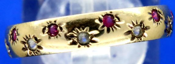 9ct gold red and white stone set ring, size Q, 2.1g. P&P Group 1 (£14+VAT for the first lot and £1+