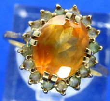9ct gold and citrine dress ring, size M/N, 3.1g. P&P Group 1 (£14+VAT for the first lot and £1+VAT