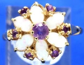 14ct gold flower head set ring of six opals and seven amethysts, size Q/R, 3.3g. P&P Group 1 (£14+