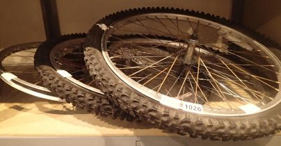 Four bike wheels. Not available for in-house P&P, contact Paul O'Hea at Mailboxes on 01925 659133