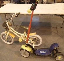 Young girls single speed bike with stabilisers and a childs three wheels scooter. Not available