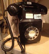 Black, wallmounted, GPO746 Retro push button telephone replica of the 1970s classic, compatible with