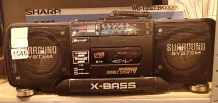 Sharp x-bass radio and twin cassette player. Not available for in-house P&P, contact Paul O'Hea at