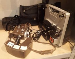 Vintage sport star 1v Bell and Howell video camera and Hanimex loadmatic 720 projector. Not