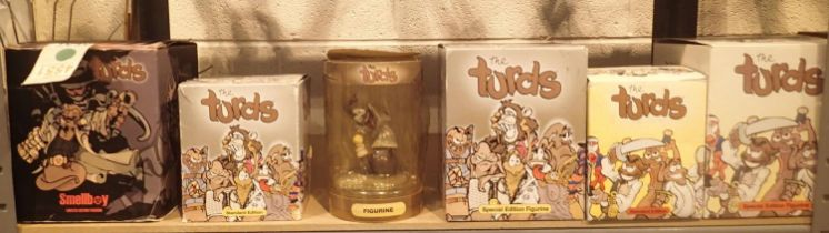 Selection of six boxed limited and special edition Turds figurines. Not available for in-house P&