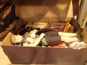 Box of assorted vintage cars, to include play worn batmobile. Not available for in-house P&P,
