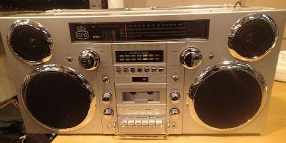 Silver, GPO Brooklyn large 1980s-Style Boombox - CD, cassette, DAB+ & FM Radio, USB, Bluetooth